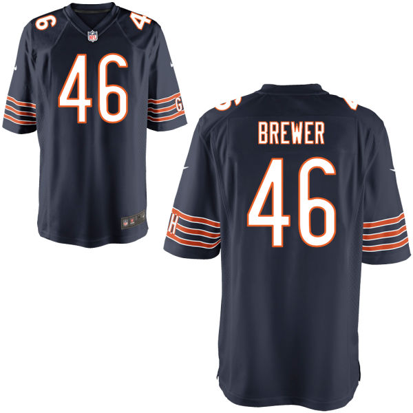 Aaron Brewer Nike Chicago Bears Game Navy Jersey