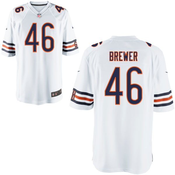 Aaron Brewer Nike Chicago Bears Game White Jersey