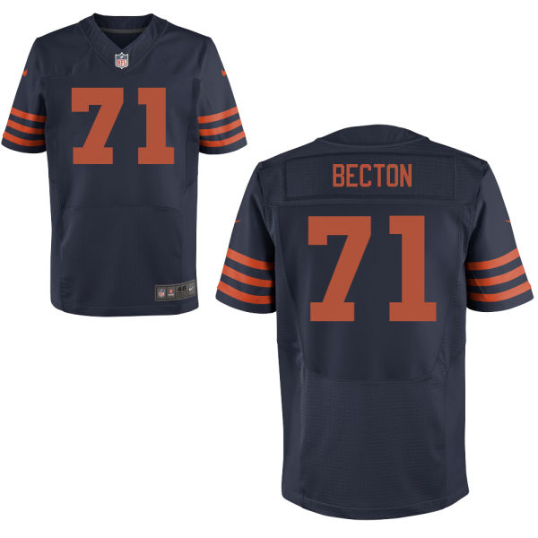 Nick Becton Nike Chicago Bears Elite Navy Blue Alternate Jersey