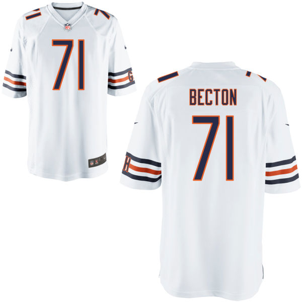 Nick Becton Nike Chicago Bears Game White Jersey
