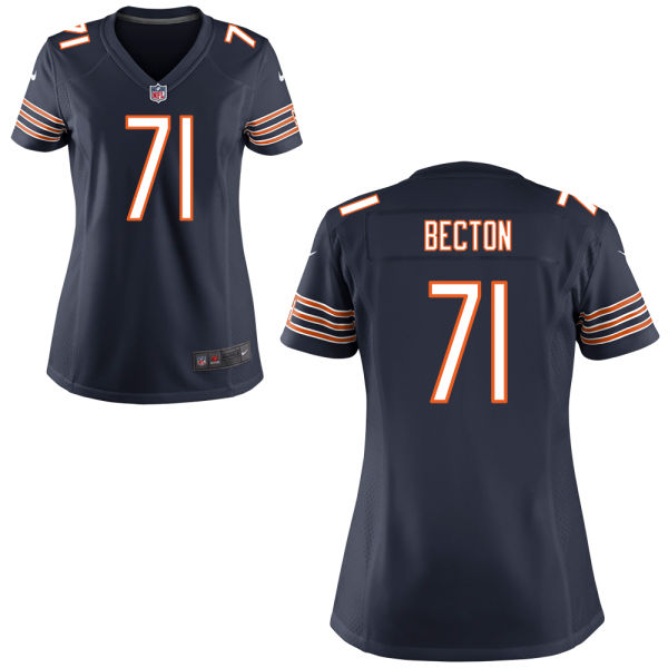 Nick Becton Women's Nike Chicago Bears Game Navy Blue Jersey