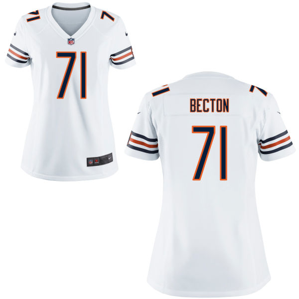 Nick Becton Women's Nike Chicago Bears Game White Jersey
