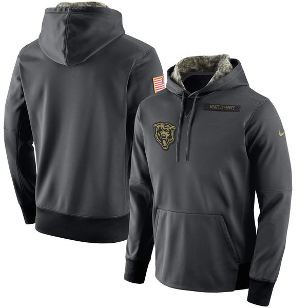 Chicago Bears Nike Anthracite Salute to Service Player Performance Hoodie
