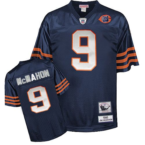 Jim McMahon Mitchell and Ness Chicago Bears Authentic Blue Team Color Big Number with Bear Patch Throwback Jersey