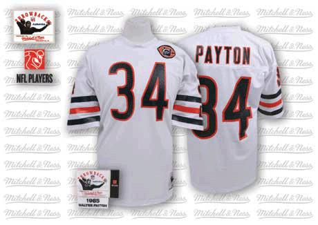 Walter Payton Mitchell and Ness Chicago Bears Authentic White Big Number with Bear Patch Throwback Jersey