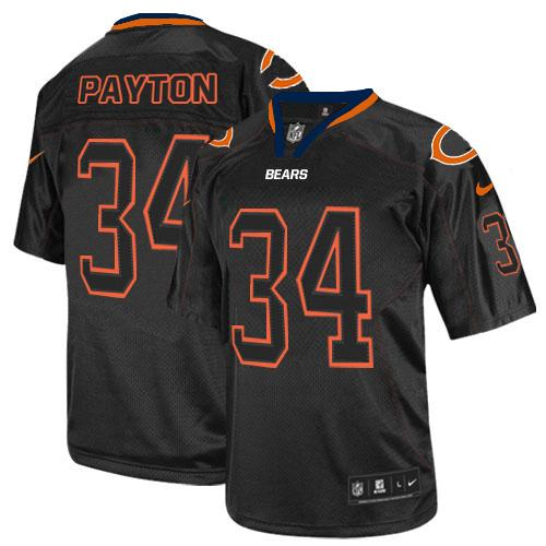 Walter Payton Nike Chicago Bears Elite Lights Out Black Jersey