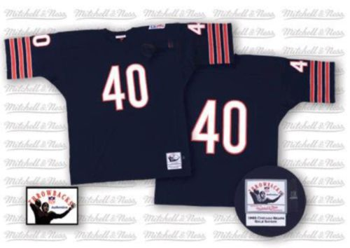 Gale Sayers Mitchell and Ness Chicago Bears Authentic Blue Team Color Small Number Throwback Jersey