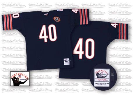 Gale Sayers Mitchell and Ness Chicago Bears Authentic Blue Team Color Big Number with Bear Patch Throwback Jersey