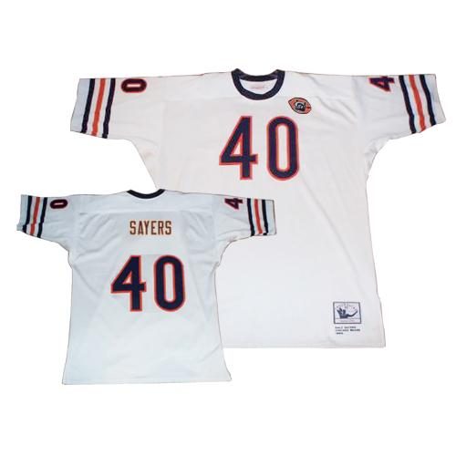Gale Sayers Mitchell and Ness Chicago Bears Authentic White Big Number with Bear Patch Throwback Jersey