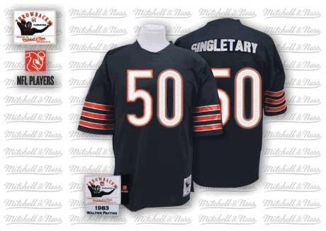 Mike Singletary Mitchell and Ness Chicago Bears Authentic Blue Team Color Small Number Throwback Jersey