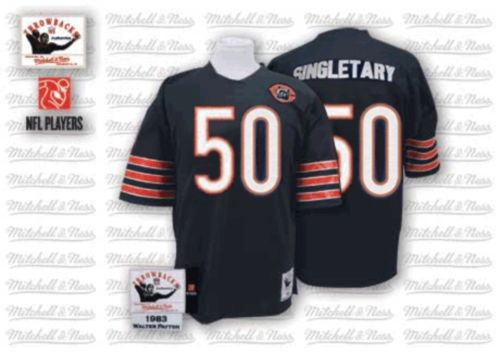 Mike Singletary Mitchell and Ness Chicago Bears Authentic Blue Team Color Big Number with Bear Patch Throwback Jersey