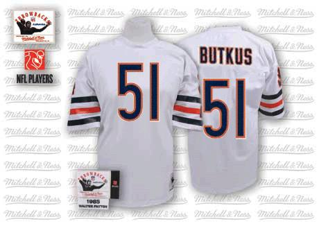 Dick Butkus Mitchell and Ness Chicago Bears Authentic White Throwback Jersey