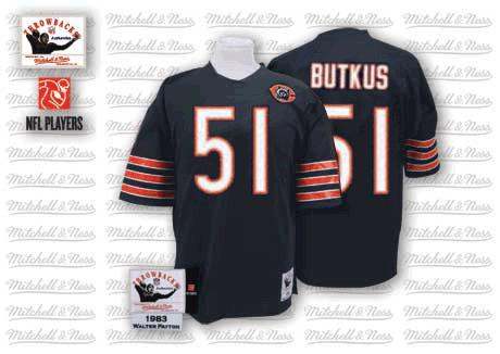 Dick Butkus Mitchell and Ness Chicago Bears Authentic Blue Team Color Big Number with Bear Patch Throwback Jersey