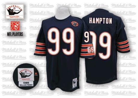 Dan Hampton Mitchell and Ness Chicago Bears Authentic Blue Team Color Big Number with Bear Patch Throwback Jersey