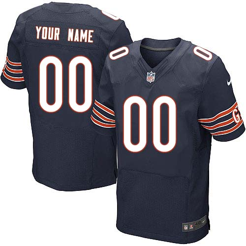 Custom Nike Chicago Bears Elite Navy Blue ized Team Color Jersey