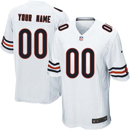 Custom Youth Nike Chicago Bears Limited White ized Jersey