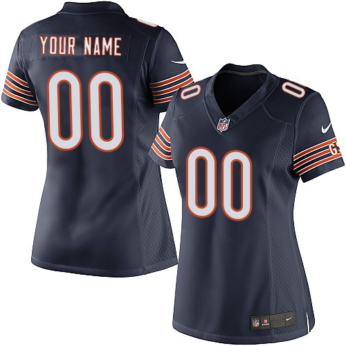 Custom Women's Nike Chicago Bears Elite Navy Blue ized Team Color Jersey