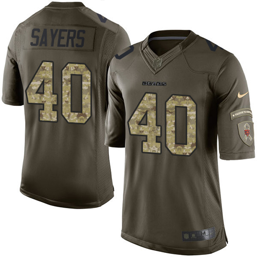 Gale Sayers Nike Chicago Bears Elite Green Salute to Service Jersey