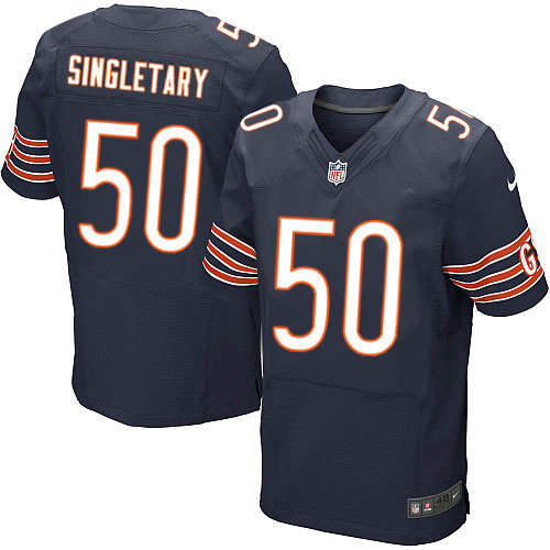 Mike Singletary Nike Chicago Bears Elite Navy Blue Team Color Jersey