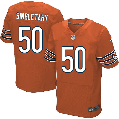 Mike Singletary Nike Chicago Bears Elite Orange Alternate Jersey