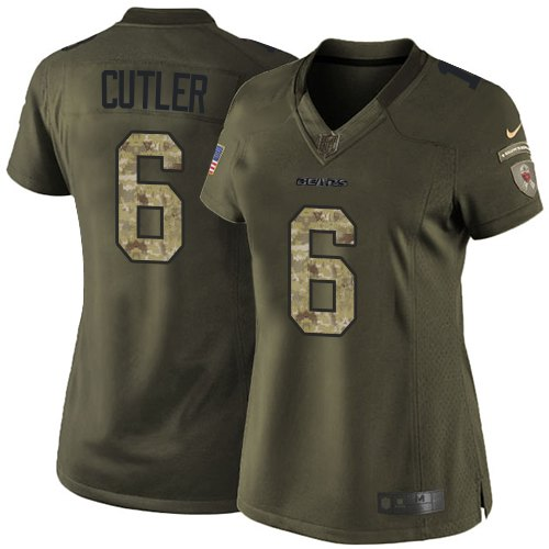 Jay Cutler Women's Nike Chicago Bears Limited Green Salute to Service Jersey