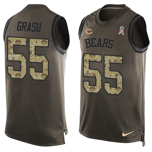 Hroniss Grasu Nike Chicago Bears Limited Green Salute to Service Tank Top Alternate Jersey