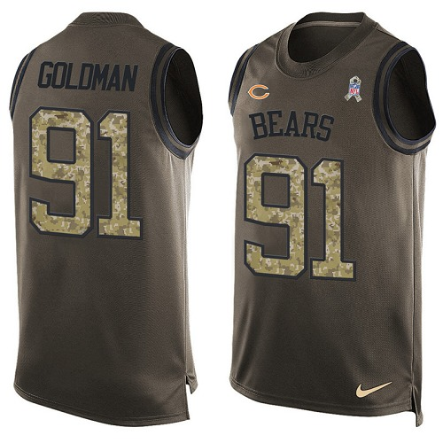 Eddie Goldman Nike Chicago Bears Limited Gold Green Salute to Service Tank Top Alternate Jersey