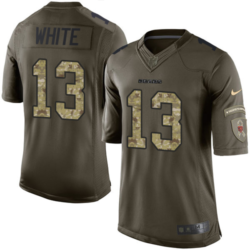 Kevin White Nike Chicago Bears Elite White Green Salute to Service Jersey