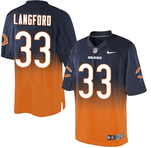 Jeremy Langford Nike Chicago Bears Elite Orange Navy/ Fadeaway Jersey
