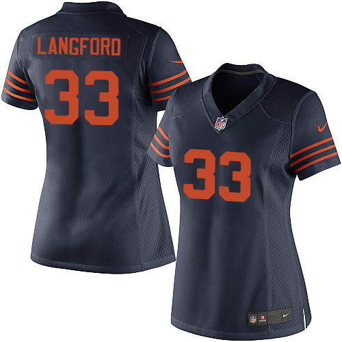 Jeremy Langford Women's Nike Chicago Bears Elite Navy Blue 1940s Throwback Alternate Jersey