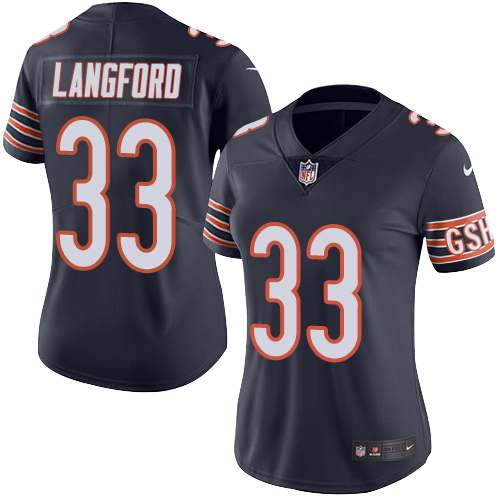 Jeremy Langford Women's Nike Chicago Bears Limited Navy Blue Color Rush Jersey
