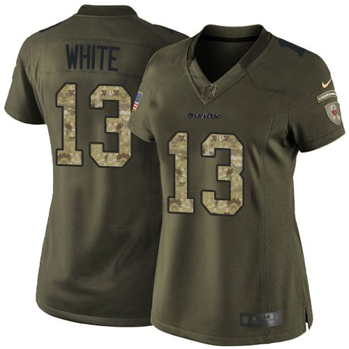 Kevin White Women's Nike Chicago Bears Elite White Green Salute to Service Jersey