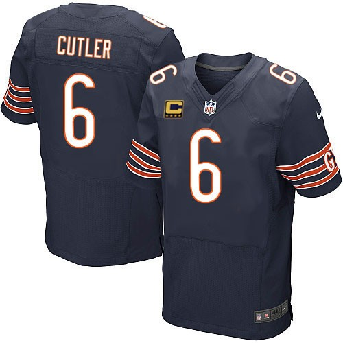 Jay Cutler Nike Chicago Bears Elite Navy Blue Team Color C Patch Jersey