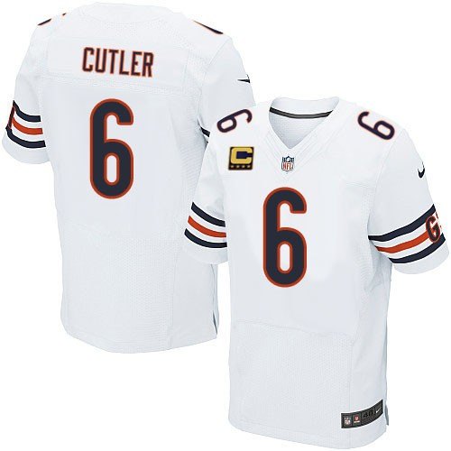 Jay Cutler Nike Chicago Bears Elite White C Patch Jersey