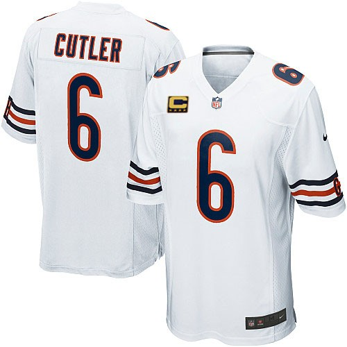 Jay Cutler Youth Nike Chicago Bears Elite White C Patch Jersey