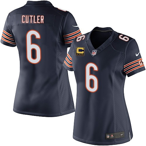 Jay Cutler Women's Nike Chicago Bears Elite Navy Blue Team Color C Patch Jersey