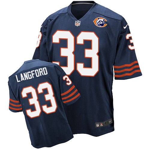 Jeremy Langford Nike Chicago Bears Elite Navy Blue Throwback Jersey