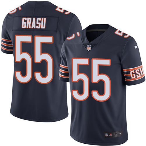 Hroniss Grasu Youth Nike Chicago Bears Limited Navy Blue Color Rush Jersey