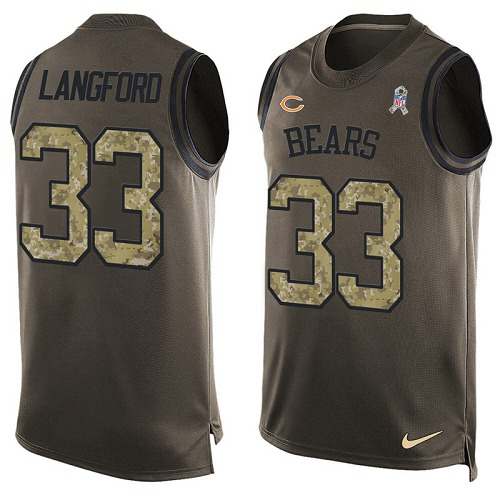 Jeremy Langford Nike Chicago Bears Limited Green Salute to Service Tank Top Alternate Jersey