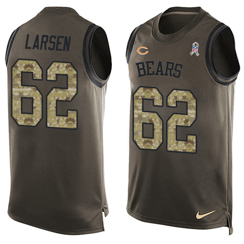 Ted Larsen Nike Chicago Bears Limited Green Salute to Service Tank Top Alternate Jersey