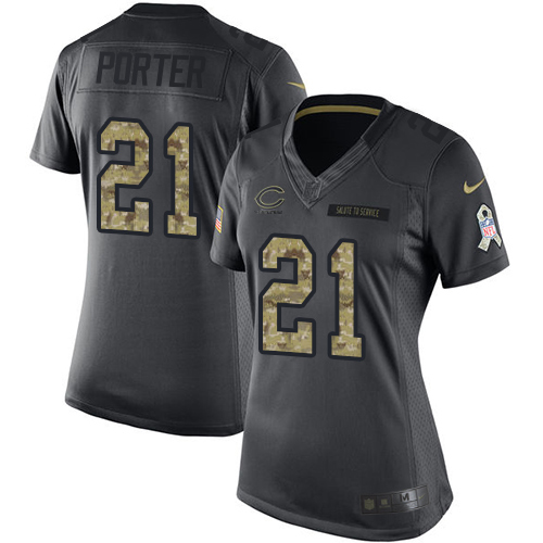 Tracy Porter Women's Nike Chicago Bears Limited Black 2016 Salute to Service Jersey