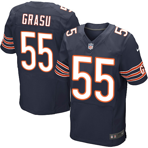 Hroniss Grasu Nike Chicago Bears Elite Navy Blue Team Color Jersey