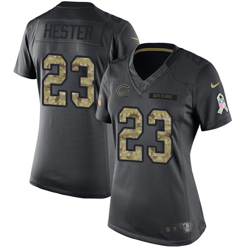 Devin Hester Women's Nike Chicago Bears Limited Black 2016 Salute to Service Jersey
