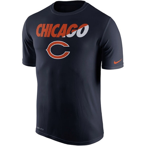 Chicago Bears Nike Navy Blue Legend Staff Practice Performance T-Shirt
