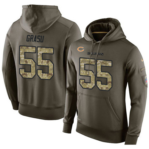Nike Chicago Bears 55 Hroniss Grasu Green Salute To Service Pullover Hoodie