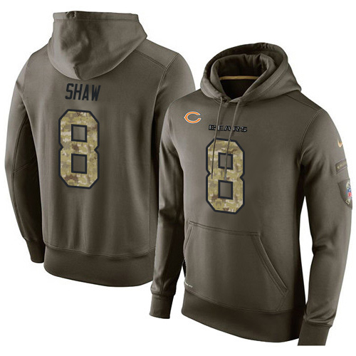 Nike Chicago Bears 8 Connor Shaw Green Salute To Service Pullover Hoodie