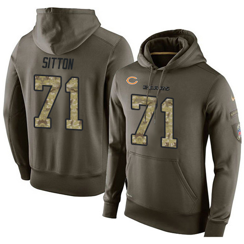 Nike Chicago Bears 71 Josh Sitton Green Salute To Service Pullover Hoodie