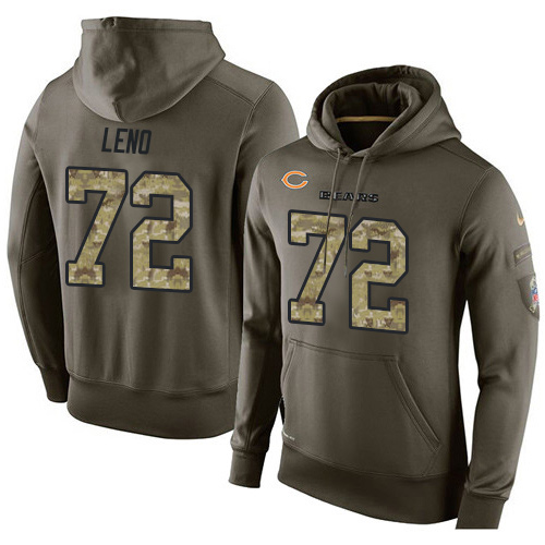 Nike Chicago Bears 72 Charles Leno Green Salute To Service Pullover Hoodie